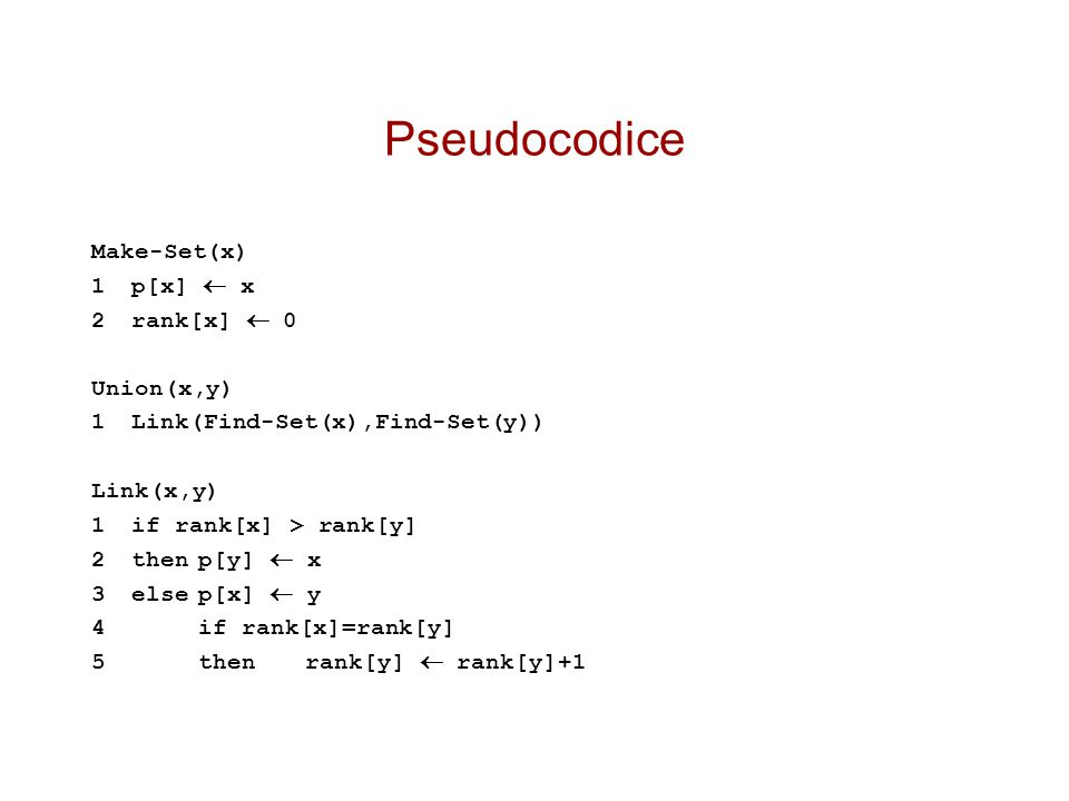 Pseudocodice Make-Set(x) 1 p[x]  x 2 rank[x]  0 Union(x,y)